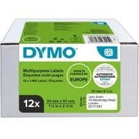 DYMO 11354 Multi Purpose Labels White 57 x 32 mm 12 Rolls of 1000 Labels