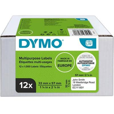 DYMO 11354 Universal Labels 57 x 32 mm White 12 Rolls of 1000 Labels