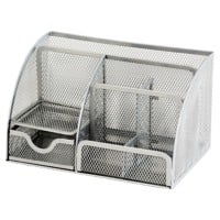 Office Depot Desk Organiser Wire Mesh Silver 22.2 x 14 x 12.8 cm