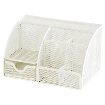 Office Depot Desk Organiser Wire Mesh White 22.2 x 14 x 12.8 cm