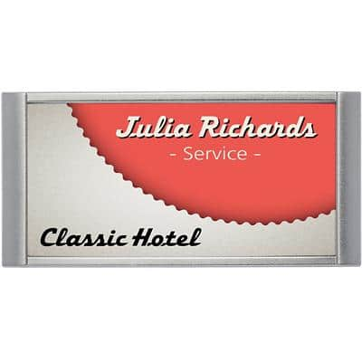 DURABLE Classic Name Badge Magnetic Landscape 65 x 30mm 854023 Pack of 10