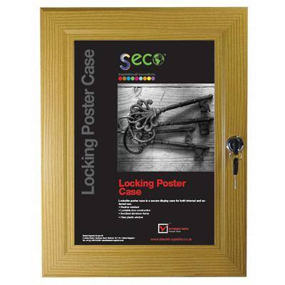 Stewart Superior Wall Mountable Lockable Poster Case 31 x 38 cm Light Wood