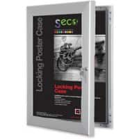 Stewart Superior Wall Mountable Lockable Poster Case 85 x 110 cm Silver