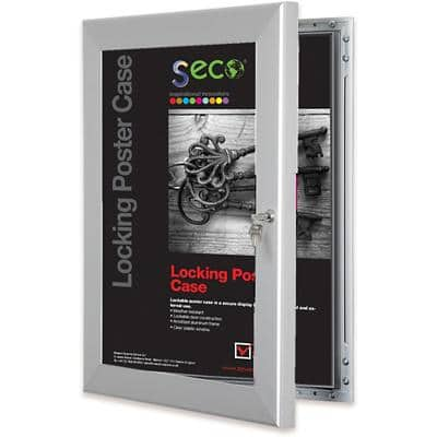 Stewart Superior Wall Mountable Lockable Poster Case 68 x 93 cm Silver