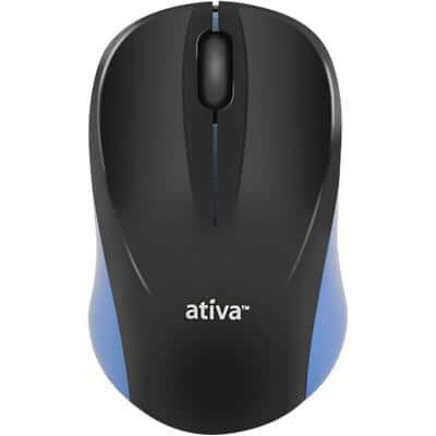 Ativa Wireless Mouse HM8138 Optical For Right and Left-Handed Users USB Adapter Black, Blue