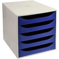 Office Depot 5 Drawer filing unit Grey, blue 28.4 x 34.8 x 29 cm