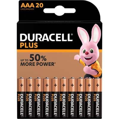 Duracell AAA Alkaline Batteries Plus Power LR03 1.5V Pack of 20