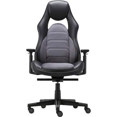 Realspace Synchro Tilt Executive Chair Adjustable Armrest Hades Bonded Leather Black