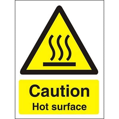 Warning Sign Caution: Hot Surface Vinyl 7.5 x 5 cm