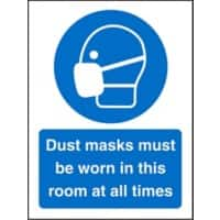 Mandatory Sign Dust Masks vinyl B;ue, White 30 x 20 cm