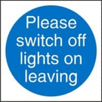 Mandatory Sign Switch Off Lights vinyl Blue White 10 x 10 cm
