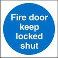 Mandatory Sign Fire Door Keep Locked Vinyl Blue, White 10 x 10 cm