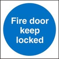 Mandatory Sign Fire Door Keep Locked Self Adhesive Vinyl Blue, White 10 x 10 cm