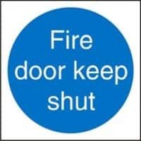Mandatory Sign Fire Door Keep Shut Plastic Blue, White 20 x 20 cm