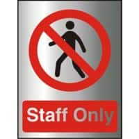 Prohibition Sign Staff Only Acrylic 20 x 15 cm