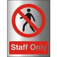 Prohibition Sign Staff Only Aluminium 20 x 15 cm