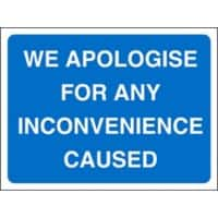 Site Sign Apologise Inconvenience Fluted board 45 x 60 cm