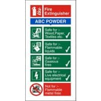 Fire Extinguisher with ABC Powder Sign Self Adhesive Plastic 20 x 10 cm