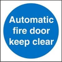 Mandatory Sign Automatic Fire Door Keep Clear Vinyl Blue, White 10 x 10 cm