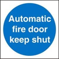 Mandatory Sign Automatic Fire Door Keep Shut Plastic Blue, White 20 x 20 cm