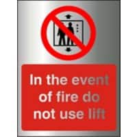 Fire Sign Do Not Use Lift Aluminium 20 x 15 cm
