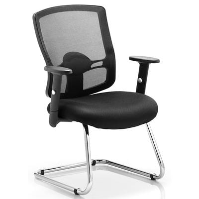 dynamic Basic Tilt Visitor Cantilever Chair with Adjustable Armrest and Seat Mesh Portland Black