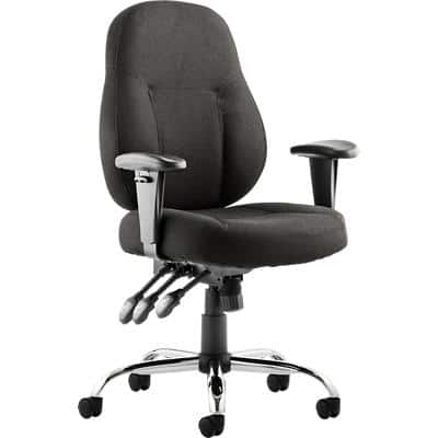 dynamic Permanent Contact Task Operator Chair with Adjustable Armrest and Seat Fabric Storm Black
