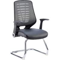 dynamic Visitor Cantilever Leather Seat Chair with Armrest Relay Mesh Black, Silver
