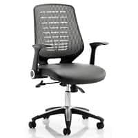 dynamic Synchro Tilt Task Office Chair with Armrest and Adjustable Seat Relay Leather Black, Silver