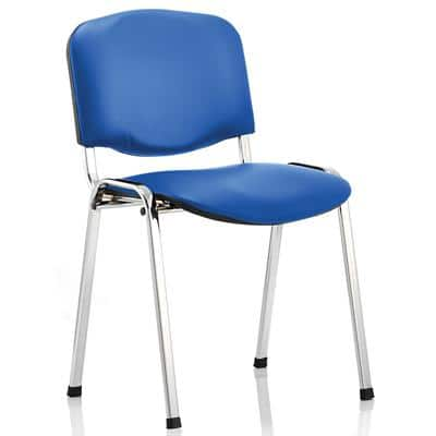 Stacking Chair ISO Chrome Frame Blue Vinyl 4 Pieces