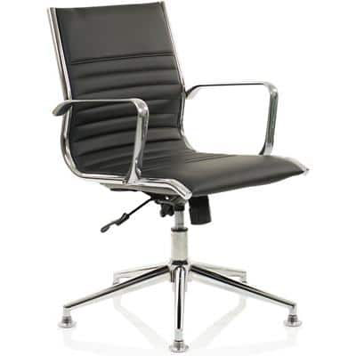 dynamic Infinite Lock Executive Medium Back Chair with Armrest Ritz Black Leather