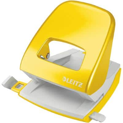 Leitz NeXXt WOW Metal 2 Hole Punch 5008 30 Sheets Yellow