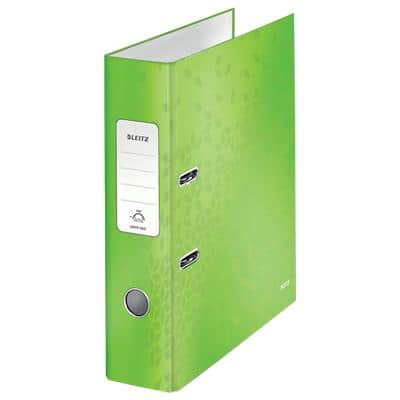 Leitz WOW Lever Arch File 80 mm Cardboard 2 Rings A4 Lime Green