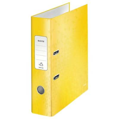Leitz WOW 180° Lever Arch File 80 mm Cardboard 2 Rings A4 Yellow