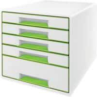 Leitz WOW Cube Desk Drawer Filing Unit Dual Colour 5 Drawers A4 White, Green 28.7 x 27 x 36.3 cm