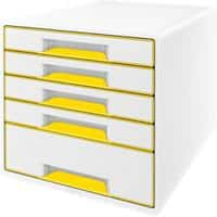 Leitz WOW Cube Desk Drawer Filing Unit Dual Colour 5 Drawers A4 White, Yellow 28.7 x 27 x 36.3 cm