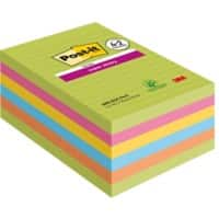 Post-it Super Sticky Large Notes 101 x 152 mm Assorted Colours 6 Pads of 90 Sheets