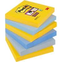 Post-it Super Sticky Notes 76 x 76 mm New York Assorted Colours 6 Pads of 90 Sheets