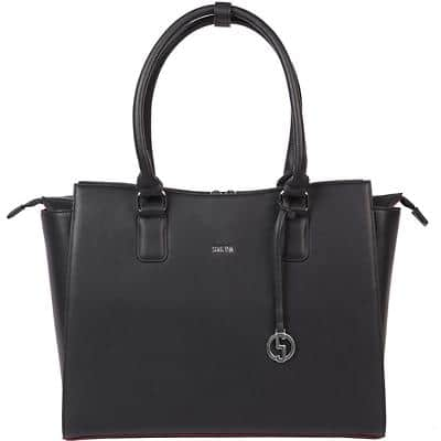 SOCHA Ladies Laptop Bag Caddy Nero 15.6 Inch Synthetic Leather Black 48 x 14 x 32.5 cm