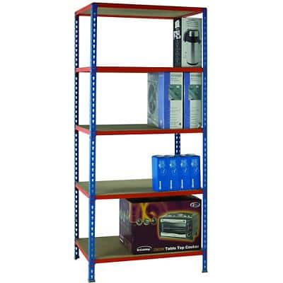 SLINGSBY Shelving Unit Painted Orange Blue, Orange 900 x 300 x 2,000 mm