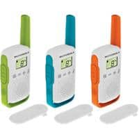 Motorola Talkabout T42 Walkie Talkie Green, Blue, Orange 3 Pieces