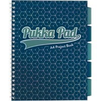 Pukka Pad Glee A4 Wirebound Dark Blue Card Cover Project Book Ruled 200 Pages