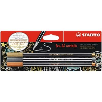 STABILO Pens 68 Metallic 1.4 mm Assorted 3 Pieces