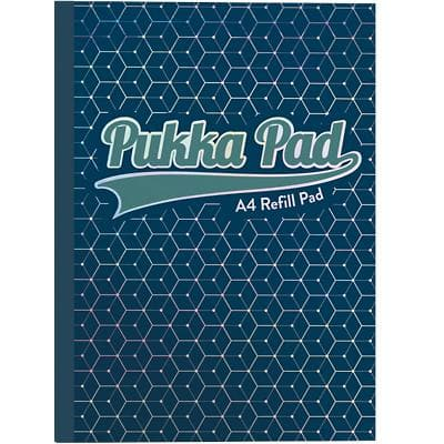 Pukka Pad Glee A4 Casebound Dark Blue Card Cover Refill Pad Ruled 400 Pages