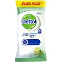 Dettol Cleansing Surface Wipes Anti Bacterial with Lime and Mint Fragrance 72 Sheets