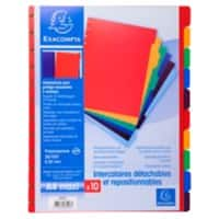 Exacompta Dividers 86003E A4 Maxi 10 Part Perforated Polypropylene Blank Pack of 10