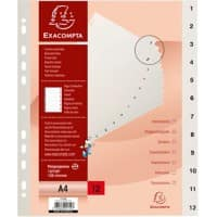 Exacompta Polypropylene Indices 1712E A4 12 Part (1-12) White Pack of 20