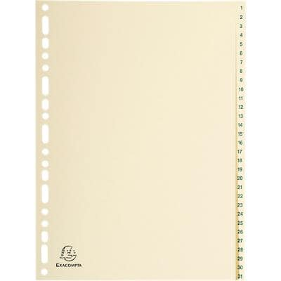 Exacompta Dividers 1331E A4 Ivory 31 Part Perforated New Card 1 to 31 5 Pieces