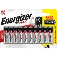 Energizer AA Alkaline Batteries Max LR6 1.5V Pack of 20