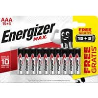 Energizer AAA Alkaline Batteries Max LR03 1.5V 20 Pieces